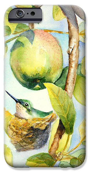 Apple Trees iPhone Cases - Surprise in the Apple Tree iPhone Case by Bonnie Rinier