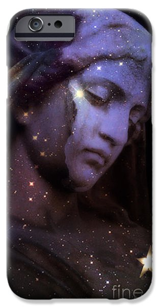 Angel. Spiritual iPhone Cases - Surreal Celestial Angelic Face With Stars and Moon - Purple Moon Celestial Angel  iPhone Case by Kathy Fornal