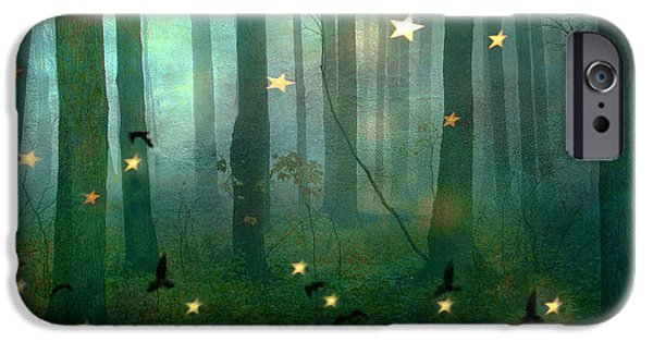 Eerie Photographs iPhone Cases - Surreal Dreamy Fantasy Nature Starlit Woodlands Nature - Fairytale Fantasy Forest Woodlands Photos iPhone Case by Kathy Fornal