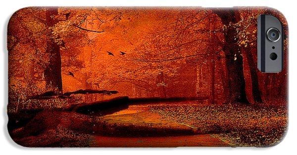 Eerie iPhone Cases - Surreal Fantasy Autumn Fall Orange Woods Nature Forest  iPhone Case by Kathy Fornal