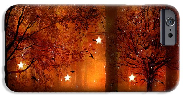 Eerie iPhone Cases - Surreal Fantasy Autumn Woodlands Starry Night iPhone Case by Kathy Fornal