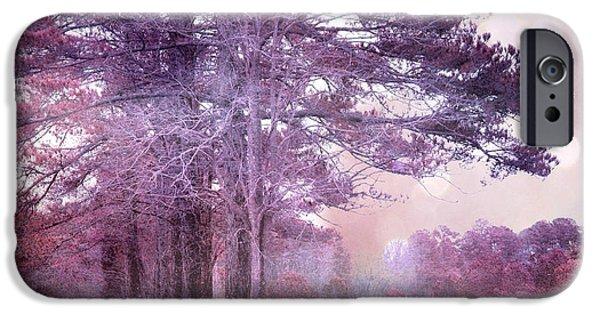 Surreal Landscape iPhone Cases - Surreal Fantasy Fairytale Purple Lavender Nature Landscape - Fantasy Lavender Bokeh Nature Trees iPhone Case by Kathy Fornal