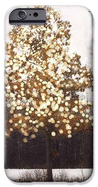 Sparkling iPhone Cases - Surreal Fantasy Sparkling Nature With Birds iPhone Case by Kathy Fornal