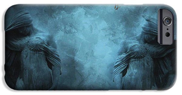 Eerie iPhone Cases - Surreal Gothic Cemetery Mourners and Raven iPhone Case by Kathy Fornal
