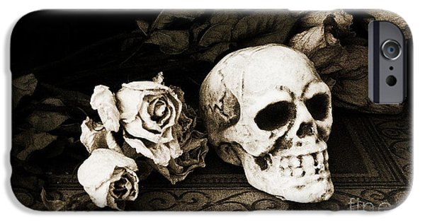 Bone iPhone Cases - Surreal Gothic Dark Sepia Roses and Skull  iPhone Case by Kathy Fornal