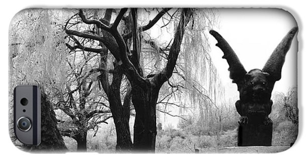 Eerie Photographs iPhone Cases - Surreal Gothic Gargoyle Ice Storm Landscape iPhone Case by Kathy Fornal