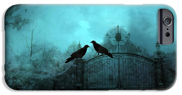 Eerie iPhone Cases - Surreal Gothic Ravens Fantasy Art Gate Scene iPhone Case by Kathy Fornal