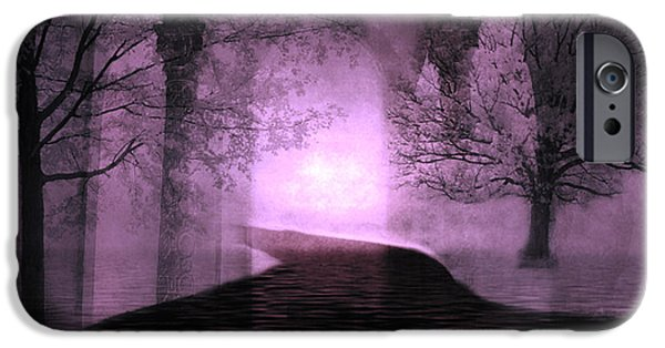 Nature Scene iPhone Cases - Surreal Purple Fantasy Nature Path Trees Landscape  iPhone Case by Kathy Fornal