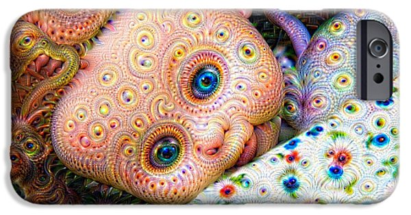 Google Mixed Media iPhone Cases - Surreal trippy deep dream doll iPhone Case by Matthias Hauser