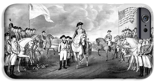 War Drawings iPhone Cases - Surrender Of Lord Cornwallis At Yorktown iPhone Case by War Is Hell Store