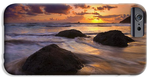 Ocean Sunset iPhone Cases - Surrounded by the Sea iPhone Case by Mike  Dawson