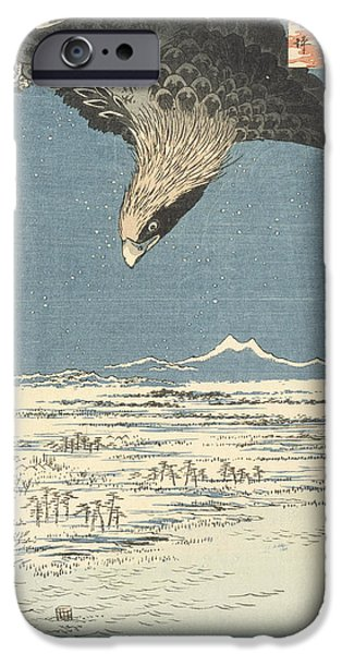 Snowy Drawings iPhone Cases - Susaki and the Jumantsubo Plain near Fukagawa iPhone Case by Hiroshige