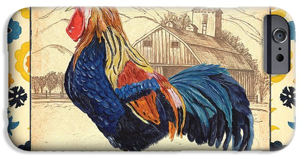 Pen And Ink iPhone Cases - Suzani Rooster 1 iPhone Case by Debbie DeWitt