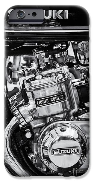 Suzuki iPhone Cases - Suzuki GT750 Monochrome iPhone Case by Tim Gainey