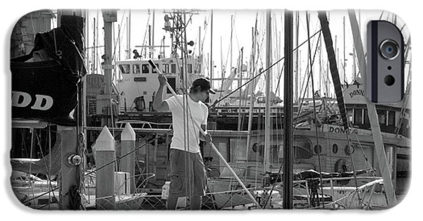 Sailboats In Harbor iPhone Cases - Swabbing The Deck iPhone Case by Betty LaRue
