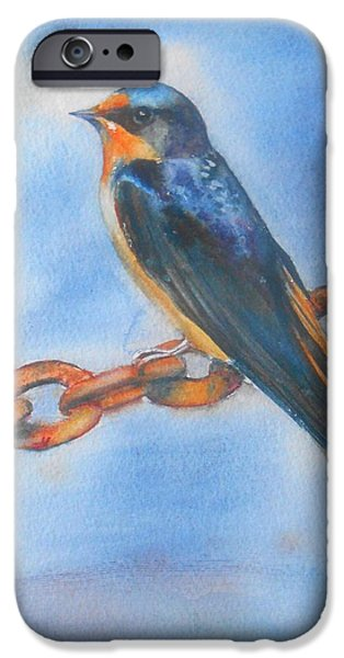 Barn Swallow Paintings iPhone Cases - Swallow iPhone Case by Patricia Pushaw