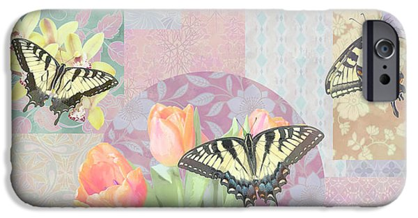Pastel Paintings iPhone Cases - Swallowtail Butterfly 3 Pastel iPhone Case by JQ Licensing