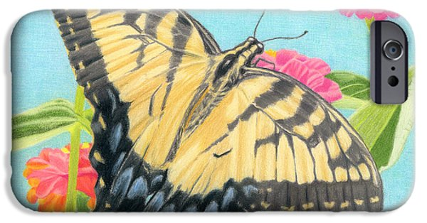 Sarah Batalka Drawings iPhone Cases - Swallowtail Butterfly And Zinnias iPhone Case by Sarah Batalka