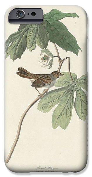 Sparrow iPhone Cases - Swamp Sparrow iPhone Case by John James Audubon