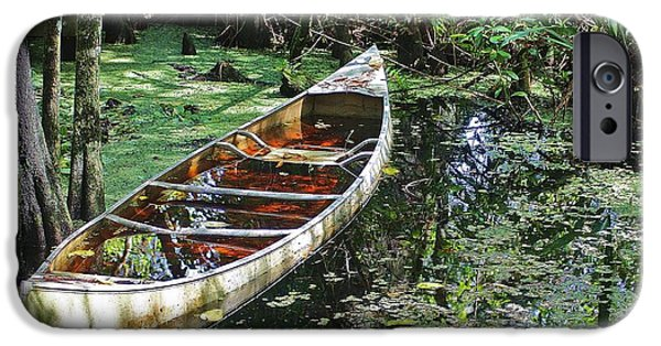 Canoe iPhone Cases - Swamped iPhone Case by Chuck  Hicks
