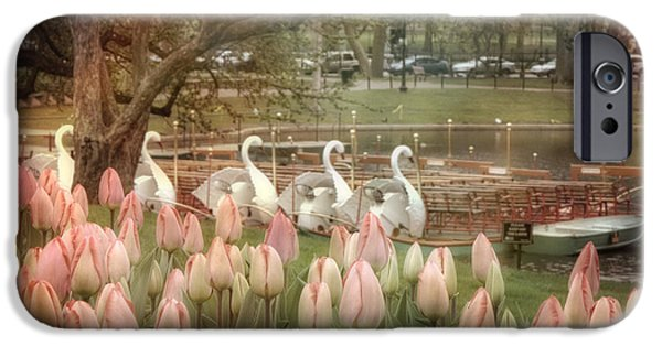 Scenic Boston iPhone Cases - Swan Boats and Tulips - Boston Public Garden iPhone Case by Joann Vitali