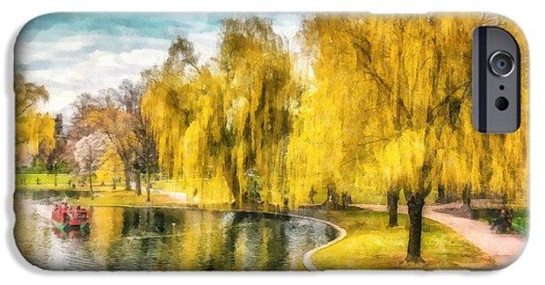 Swans... iPhone Cases - Swan Boats Boston Public Garden iPhone Case by Edward Fielding