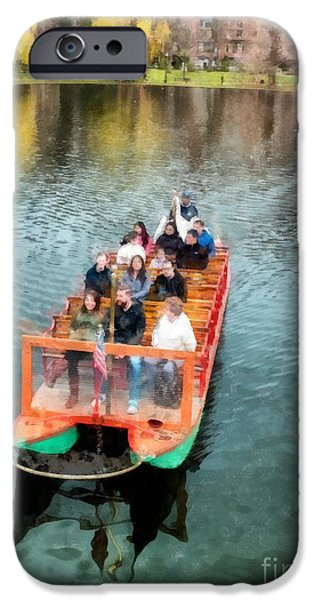 Boston Ma Photographs iPhone Cases - Swan Boats Boston Public Gardens iPhone Case by Edward Fielding