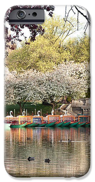 Swan Boats with Apple Blossoms iPhone Case by Susan Cole Kelly