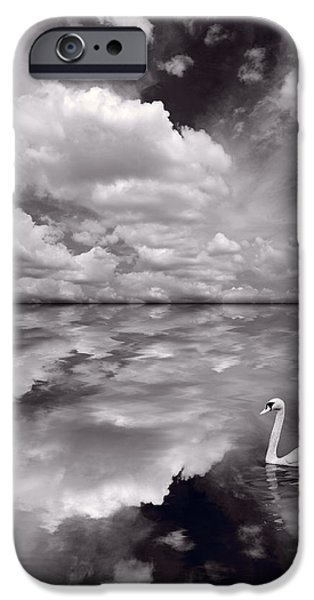 Manipulation iPhone Cases - Swan Lake Explorations B W iPhone Case by Steve Gadomski