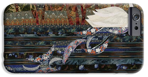 Animal Tapestries - Textiles iPhone Cases - Swan Wake iPhone Case by Linda Beach