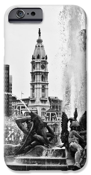 Franklin iPhone Cases - Swann Memorial Fountain in Black and White iPhone Case by Bill Cannon