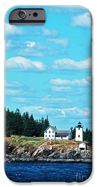 New England Lighthouse iPhone Cases - Swans Island Lighthouse iPhone Case by Thomas R Fletcher