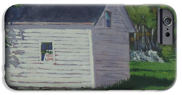 Maine Farms Paintings iPhone Cases - Sweet Corn Shed iPhone Case by Bill Tomsa