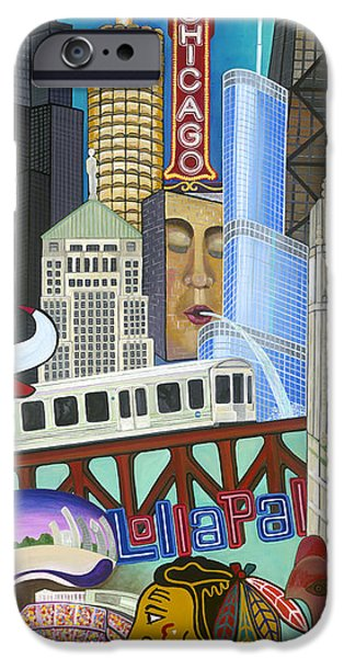 Wrigley Paintings iPhone Cases - Sweet Home Chicago iPhone Case by Carla Bank