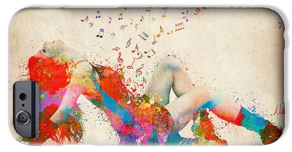 Figures iPhone Cases - Sweet Jenny Bursting with Music iPhone Case by Nikki Smith