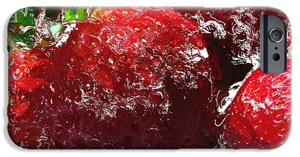 Strawberry Art iPhone Cases - Sweet  Like a Chocolate Strawberry iPhone Case by Colleen Kammerer