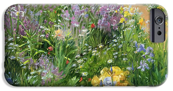 Garden iPhone Cases - Sweet Rocket - Foxgloves and Irises iPhone Case by Timothy Easton