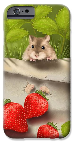 Strawberry iPhone Cases - Sweet surprise iPhone Case by Veronica Minozzi