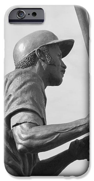Wrigley Field iPhone Cases - Sweet Swinging Billy Williams 2 B n W iPhone Case by Richard Andrews