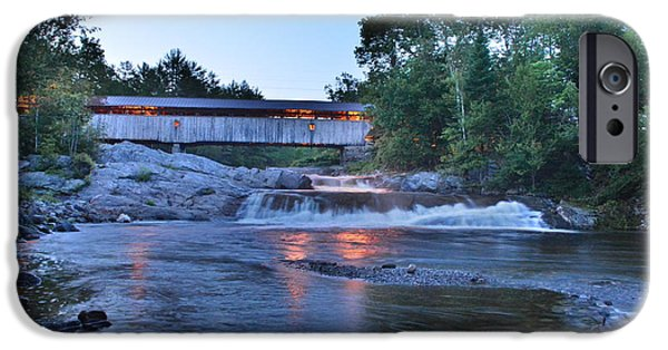 Covered Bridge iPhone Cases - Swiftwater in Summer iPhone Case by George Scheller