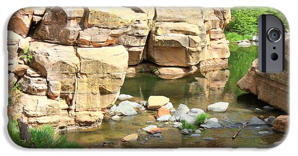 Oak Creek Canyon iPhone Cases - Swimming Hole at Slide Rock iPhone Case by Carol Groenen