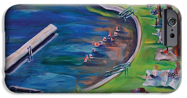 4th July Paintings iPhone Cases - Swimming Lake on July Fourth iPhone Case by Meredith Piper