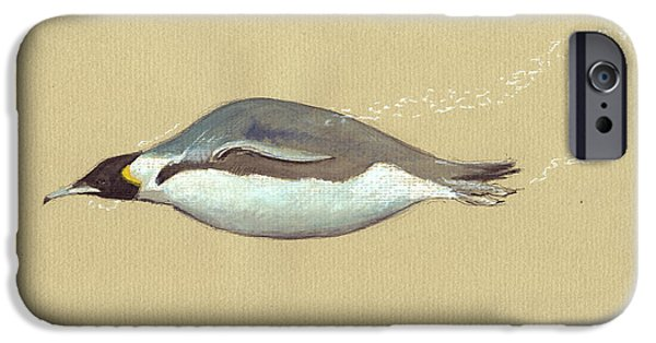 Sea Birds Paintings iPhone Cases - Swimming Penguin painting iPhone Case by Juan  Bosco