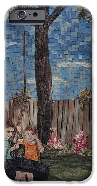 Child Tapestries - Textiles iPhone Cases - Swing Set iPhone Case by Wendy Hackett