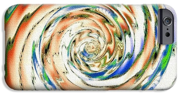Abstract Digital Pastels iPhone Cases - Swirl Expresso Catus 1no. 1 V A iPhone Case by Gert J Rheeders