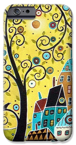 Black Bird iPhone Cases - Swirl Tree Two BIrds And Houses iPhone Case by Karla Gerard