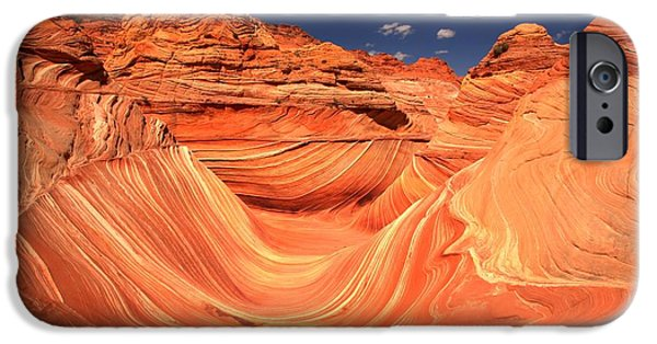 The Plateaus iPhone Cases - Swirls And Buttes At The Wave iPhone Case by Adam Jewell