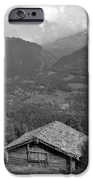 Cabin Window iPhone Cases - Swiss Mountain Cabin iPhone Case by David Broome
