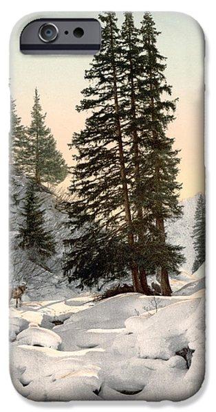 Switzerland Paintings iPhone Cases - SWITZERLAND: DAVOS, c1895 iPhone Case by Granger