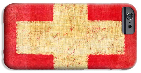 Retro Abstract iPhone Cases - Switzerland flag iPhone Case by Setsiri Silapasuwanchai